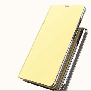 Двухмодульный пластиковый непрозрачный матовый чехол подставка с полупрозрачной смарт крышкой с зеркальным покрытием для Iphone 7 Plus Бежевый