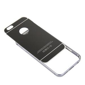 Двухкомпонентный чехол c металлическим бампером с поликарбонатной накладкой и зеркальным покрытием для Iphone 7 Plus Черный