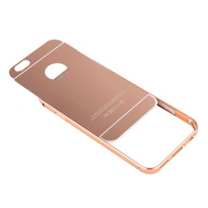 Двухкомпонентный чехол c металлическим бампером с поликарбонатной накладкой и зеркальным покрытием для Iphone 7 Plus Розовый