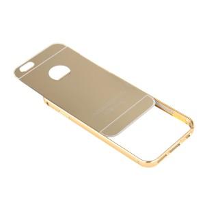 Двухкомпонентный чехол c металлическим бампером с поликарбонатной накладкой и зеркальным покрытием для Iphone 7 Plus Бежевый