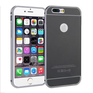 Двухкомпонентный чехол c металлическим бампером с поликарбонатной накладкой и зеркальным покрытием для Iphone 7 Plus