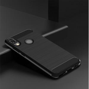 Силиконовый матовый непрозрачный чехол с текстурным покрытием Металлик для Xiaomi RedMi Note 7 Черный