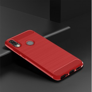 Силиконовый матовый непрозрачный чехол с текстурным покрытием Металлик для Xiaomi RedMi Note 7 Красный