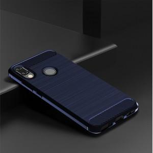 Силиконовый матовый непрозрачный чехол с текстурным покрытием Металлик для Xiaomi RedMi Note 7 Синий