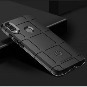 Силиконовый матовый непрозрачный чехол с текстурным покрытием Клетка для Xiaomi RedMi Note 7 Черный