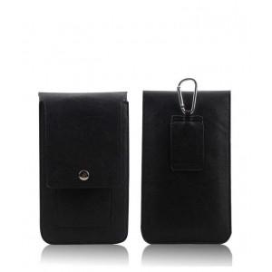 Кожаная глянцевая сумка для смартфона с двумя внутренними карманами, карабином и креплением для ремня Черный
