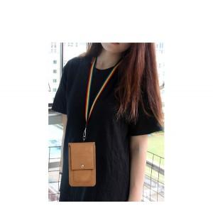 Кожаная глянцевая сумка для смартфона с двумя внутренними карманами, карабином и креплением для ремня Бежевый