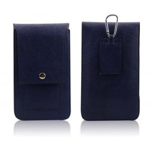 Кожаная глянцевая сумка для смартфона с двумя внутренними карманами, карабином и креплением для ремня Синий