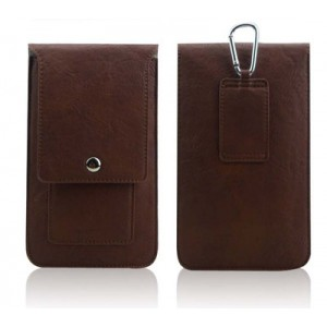 Кожаная глянцевая сумка для смартфона с двумя внутренними карманами, карабином и креплением для ремня Коричневый