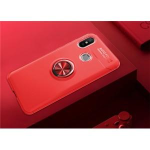 Силиконовый матовый непрозрачный чехол с встроенным магнитным кольцом-подставкой для Xiaomi RedMi Note 5 Красный