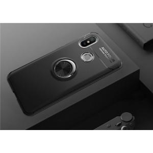 Силиконовый матовый непрозрачный чехол с встроенным магнитным кольцом-подставкой для Xiaomi RedMi Note 5 Черный