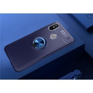 Силиконовый матовый непрозрачный чехол с встроенным кольцом-подставкой для Xiaomi RedMi Note 5 Синий