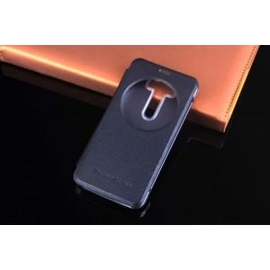 Чехол флип на пластиковой основе с окном вызова для ASUS Zenfone 2 Laser Черный