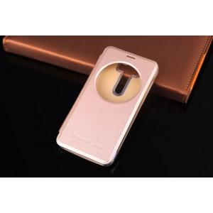 Чехол флип на пластиковой основе с окном вызова для ASUS Zenfone 2 Laser Бежевый