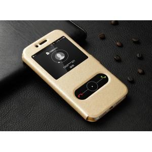 Чехол флип подставка текстура Золото с окном вызова и полоcой свайпа для Huawei Honor 5X Бежевый