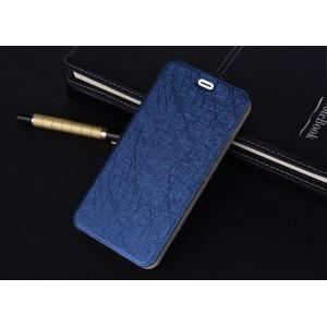 Чехол флип подставка текстура Линии на силиконовой основе для Huawei Honor 8 Синий