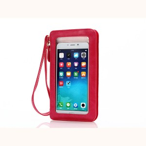 Кожаный кошелек для смартфона с прозрачной передней частью и ремешком Красный