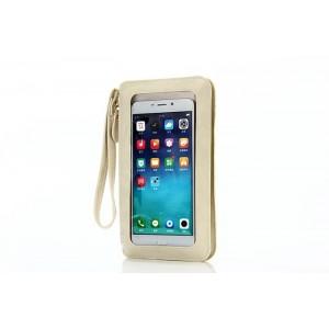 Кожаный кошелек для смартфона с прозрачной передней частью и ремешком Белый