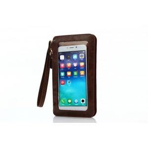 Кожаный кошелек для смартфона с прозрачной передней частью и ремешком Коричневый