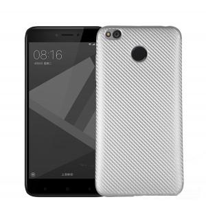 Силиконовый матовый непрозрачный чехол с текстурным покрытием Карбон для Xiaomi RedMi 4X Серый