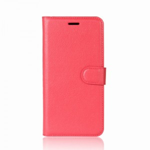 Чехол портмоне подставка на силиконовой основе с отсеком для карт на магнитной защелке для Doogee BL12000 Красный