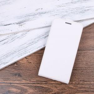 Чехол вертикальная книжка на силиконовой основе с отсеком для карт на магнитной защелке для Alcatel 3  Белый