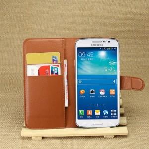 Чехол портмоне подставка на силиконовой основе с отсеком для карт на магнитной защелке для Samsung Galaxy Grand 2 Коричневый