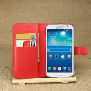 Чехол портмоне подставка на силиконовой основе с отсеком для карт на магнитной защелке для Samsung Galaxy Grand 2 Красный