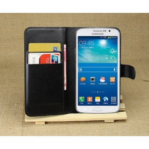 Чехол портмоне подставка на силиконовой основе с отсеком для карт на магнитной защелке для Samsung Galaxy Grand 2 Черный