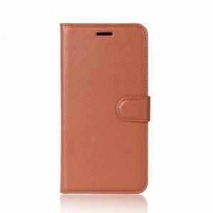Чехол портмоне подставка на силиконовой основе с отсеком для карт на магнитной защелке для Alcatel 3C Коричневый