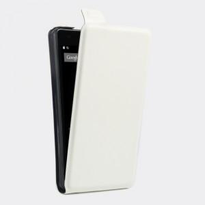 Глянцевый водоотталкивающий чехол вертикальная книжка на силиконовой основе с отсеком для карт на магнитной защелке для Doogee X5 Белый