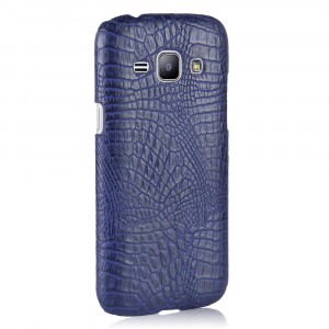 Чехол накладка текстурная отделка Кожа Крокодила для Samsung Galaxy J1 (2016) Синий