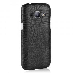 Чехол накладка текстурная отделка Кожа Крокодила для Samsung Galaxy J1 (2016) Черный