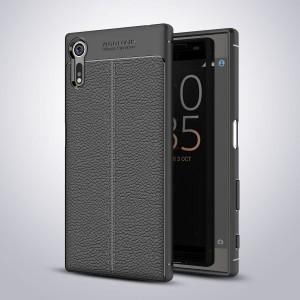 Силиконовый матовый непрозрачный чехол с текстурным покрытием Кожа для Sony Xperia XZ/XZs Черный