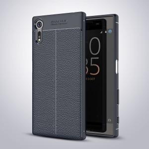 Силиконовый матовый непрозрачный чехол с текстурным покрытием Кожа для Sony Xperia XZ/XZs Синий