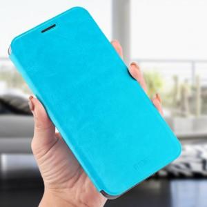 Чехол горизонтальная книжка на силиконовой основе для Xiaomi RedMi Note 7  Голубой