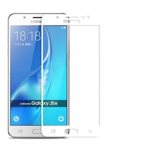 Полноэкранное ультратонкое износоустойчивое сколостойкое олеофобное защитное стекло-пленка для Samsung Galaxy J5 (2016)  Белый