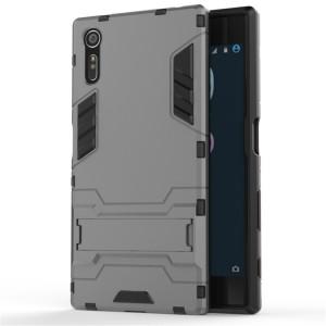 Двухкомпонентный силиконовый матовый непрозрачный чехол с поликарбонатными бампером и крышкой и встроенной ножкой-подставкой для Sony Xperia XZ/XZs Серый