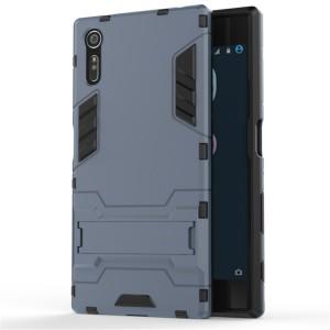 Двухкомпонентный силиконовый матовый непрозрачный чехол с поликарбонатными бампером и крышкой и встроенной ножкой-подставкой для Sony Xperia XZ/XZs Синий