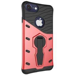 Двухкомпонентный силиконовый матовый непрозрачный чехол с поликарбонатной и крышкой, встроенной ножкой-подставкой и текстурным покрытием Линии для Iphone 6/6s Красный