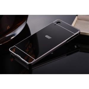 Двухкомпонентный чехол c металлическим бампером с поликарбонатной накладкой и зеркальным покрытием для Sony Xperia XA Ultra Черный