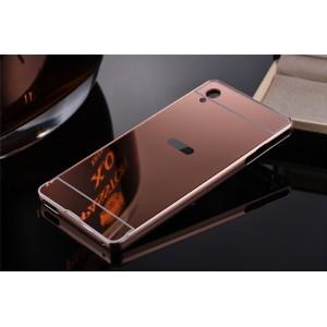 Двухкомпонентный чехол c металлическим бампером с поликарбонатной накладкой и зеркальным покрытием для Sony Xperia XA Ultra Розовый