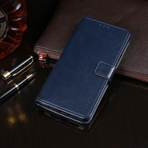 Глянцевый водоотталкивающий чехол портмоне подставка на силиконовой основе с отсеком для карт на магнитной защелке для Alcatel 3C Синий