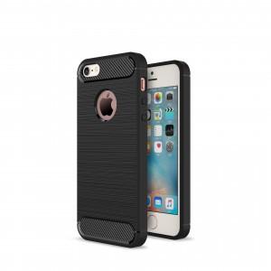 Силиконовый матовый непрозрачный чехол с текстурным покрытием Металлик для Iphone 5/5S/SE Черный