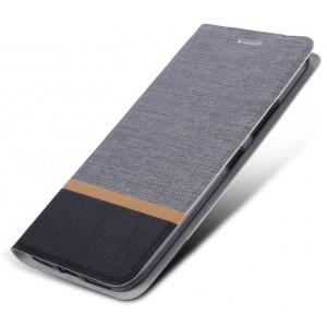 Чехол флип подставка текстура Ткань на силиконовой основе для Alcatel Shine Lite Серый