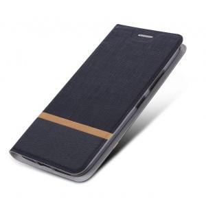 Чехол флип подставка текстура Ткань на силиконовой основе для Alcatel Shine Lite Черный