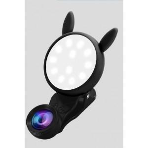 Набор из 2-х объективов (макро, широкоугольный) с LED-вспышкой на клипсе-держателе для фронтальной камеры Черный
