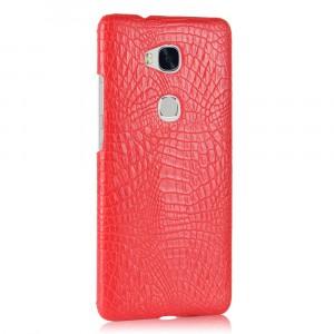 Чехол накладка текстурная отделка Кожа Крокодила для Huawei Honor 5X Красный