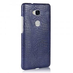 Чехол накладка текстурная отделка Кожа Крокодила для Huawei Honor 5X Синий