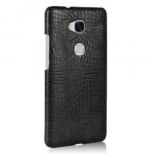 Чехол накладка текстурная отделка Кожа Крокодила для Huawei Honor 5X Черный